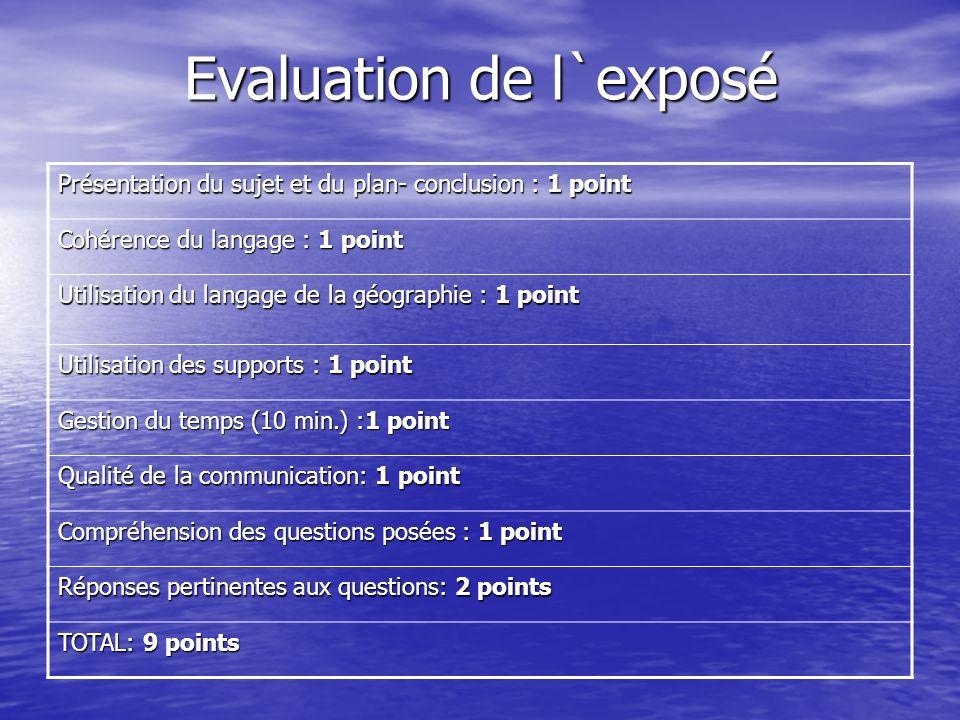 Evaluation de l`exposé Présentation du sujet et du plan- conclusion : 1 point Cohérence du langage : 1 point Utilisation du langage de la géographie :