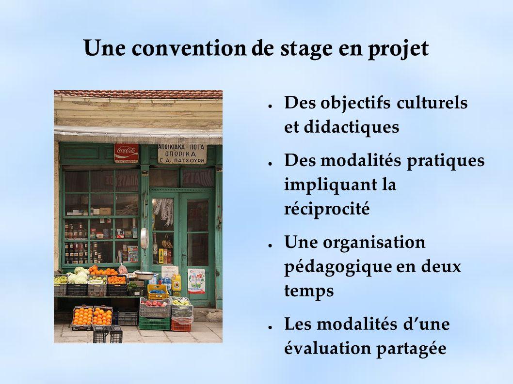Une convention de stage en projet Des objectifs culturels et didactiques Des modalités pratiques impliquant la réciprocité Une organisation pédagogiqu