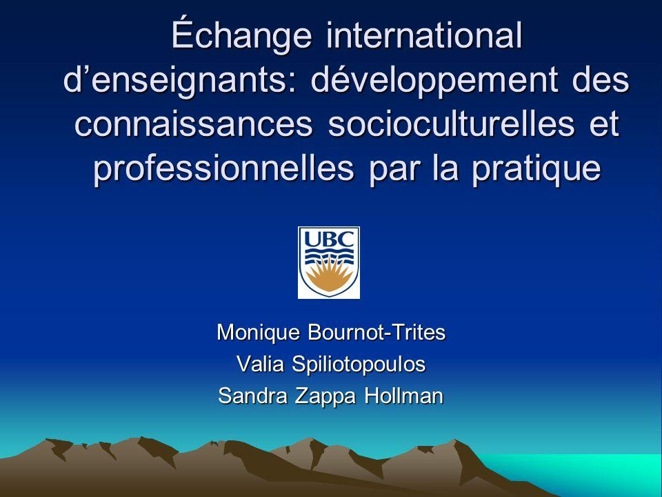 13 juin 200712 Bournot-Trites, Spiliotopoulos, Zappa-Hollman, IUFM Rennes 12 Contexte de léchange De septembre à la mi-janvier En France, les étudiantes ont observé et enseigné dans plusieurs écoles.