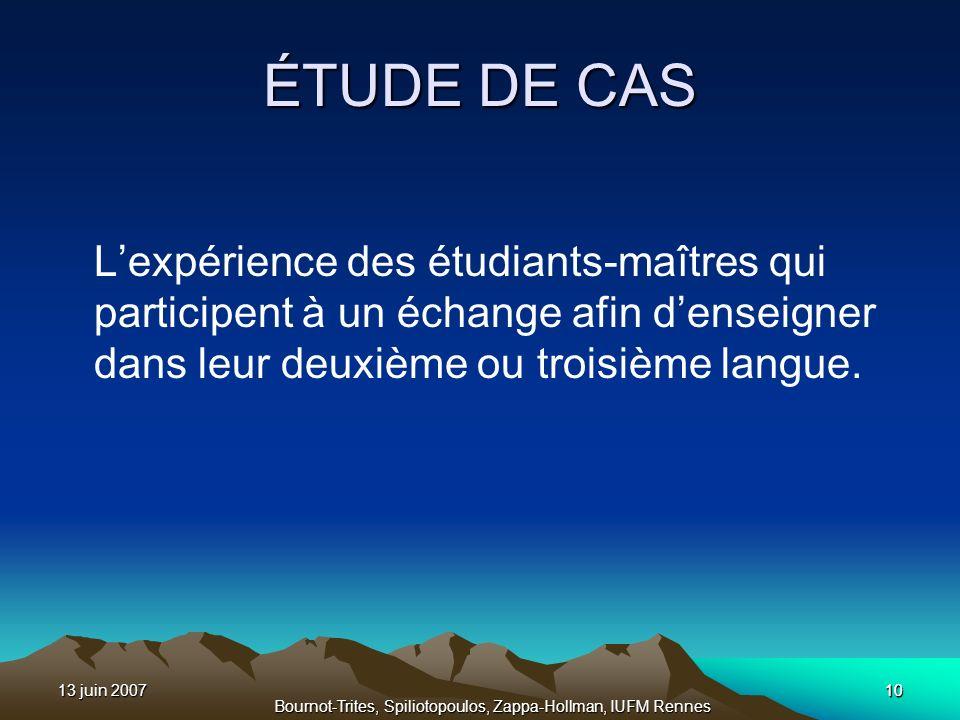 13 juin 200710 Bournot-Trites, Spiliotopoulos, Zappa-Hollman, IUFM Rennes 10 ÉTUDE DE CAS Lexpérience des étudiants-maîtres qui participent à un échan