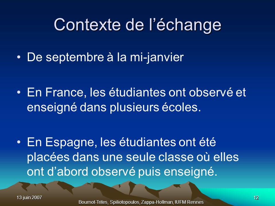 13 juin 200712 Bournot-Trites, Spiliotopoulos, Zappa-Hollman, IUFM Rennes 12 Contexte de léchange De septembre à la mi-janvier En France, les étudiant