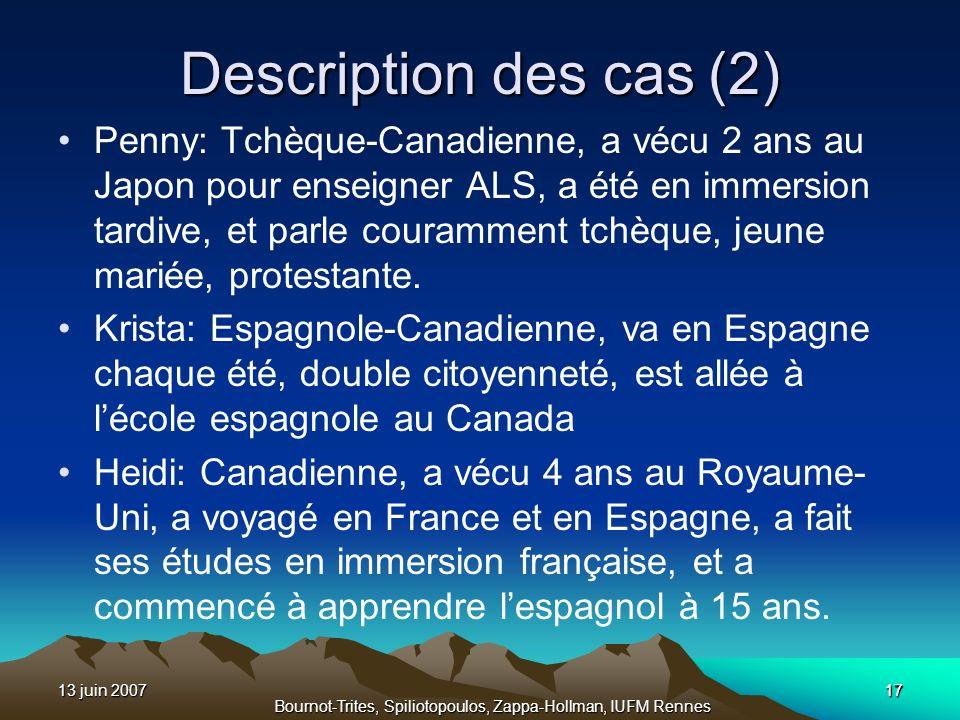13 juin 200717 Bournot-Trites, Spiliotopoulos, Zappa-Hollman, IUFM Rennes Description des cas (2) Penny: Tchèque-Canadienne, a vécu 2 ans au Japon pou