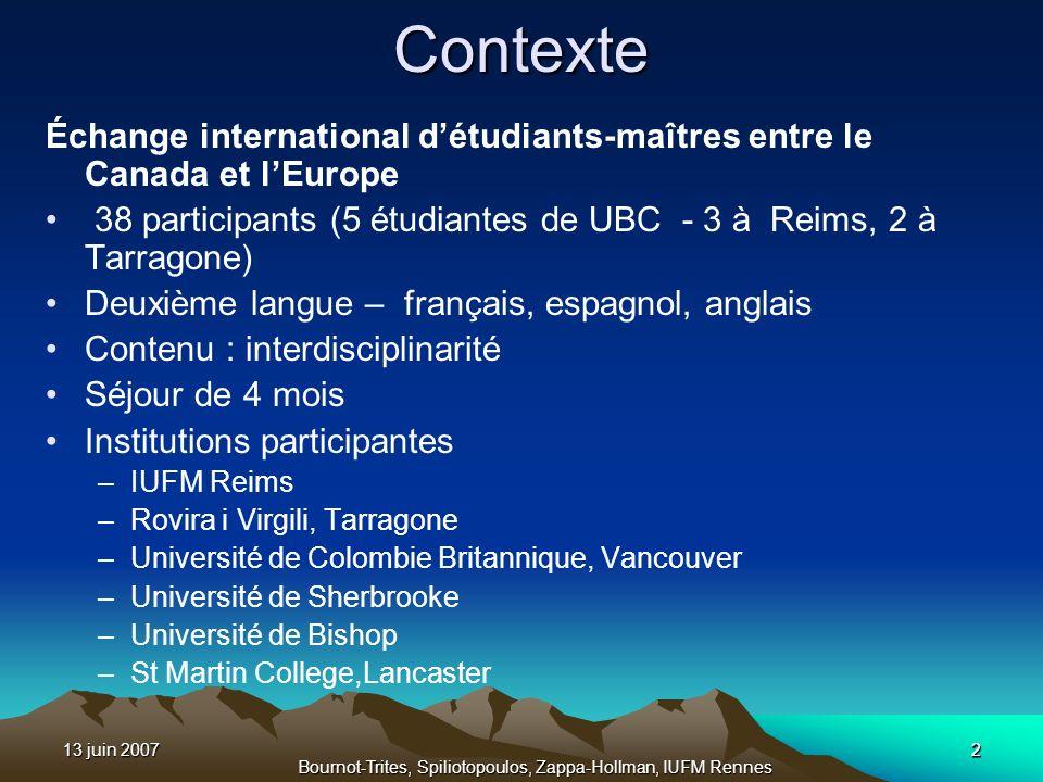 13 juin 20072 Bournot-Trites, Spiliotopoulos, Zappa-Hollman, IUFM Rennes 2Contexte Échange international détudiants-maîtres entre le Canada et lEurope