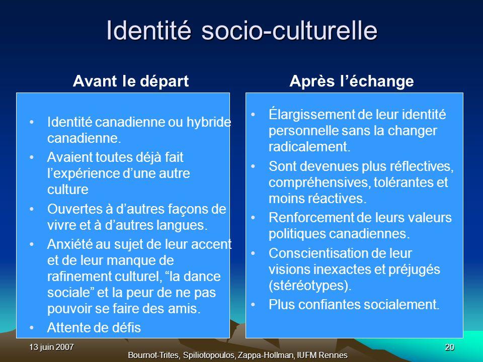13 juin 2007 Bournot-Trites, Spiliotopoulos, Zappa-Hollman, IUFM Rennes 20 Identité socio-culturelle Avant le départ Identité canadienne ou hybride ca