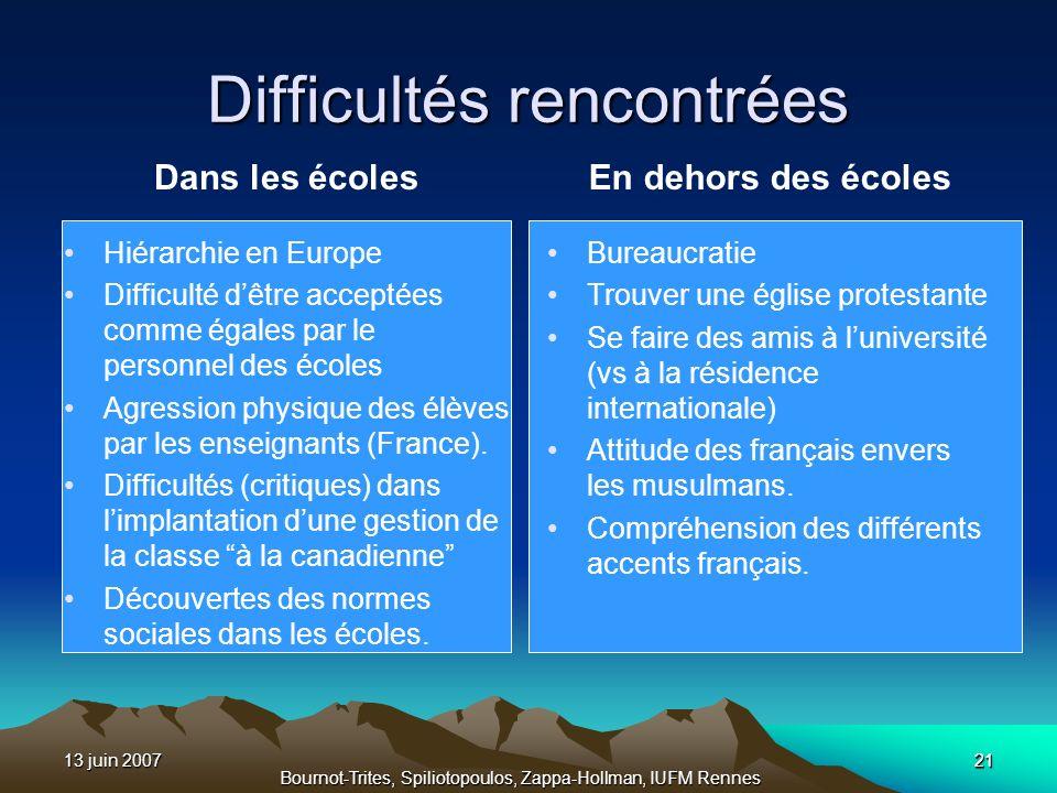 13 juin 2007 Bournot-Trites, Spiliotopoulos, Zappa-Hollman, IUFM Rennes 21 Difficultés rencontrées Dans les écoles Hiérarchie en Europe Difficulté dêt