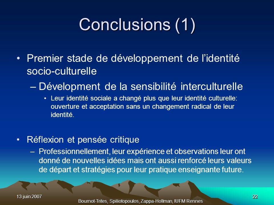 13 juin 200722 Bournot-Trites, Spiliotopoulos, Zappa-Hollman, IUFM Rennes Conclusions (1) Premier stade de développement de lidentité socio-culturelle
