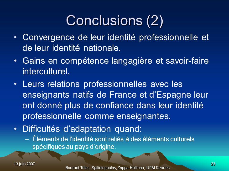 13 juin 200723 Bournot-Trites, Spiliotopoulos, Zappa-Hollman, IUFM Rennes Conclusions (2) Convergence de leur identité professionnelle et de leur iden