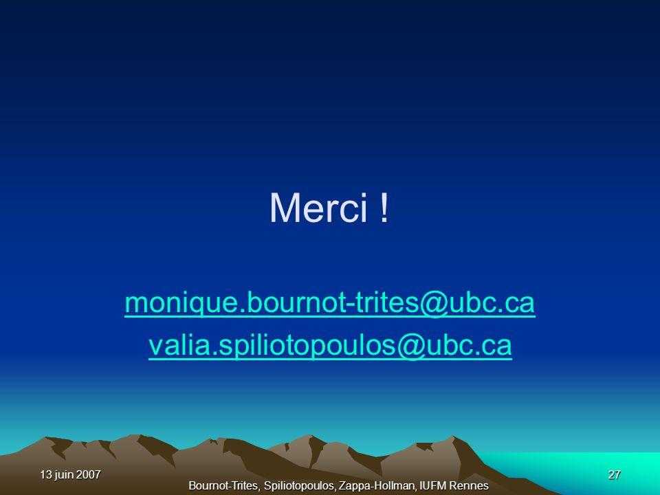 13 juin 200727 Bournot-Trites, Spiliotopoulos, Zappa-Hollman, IUFM Rennes Merci ! monique.bournot-trites@ubc.ca valia.spiliotopoulos@ubc.ca