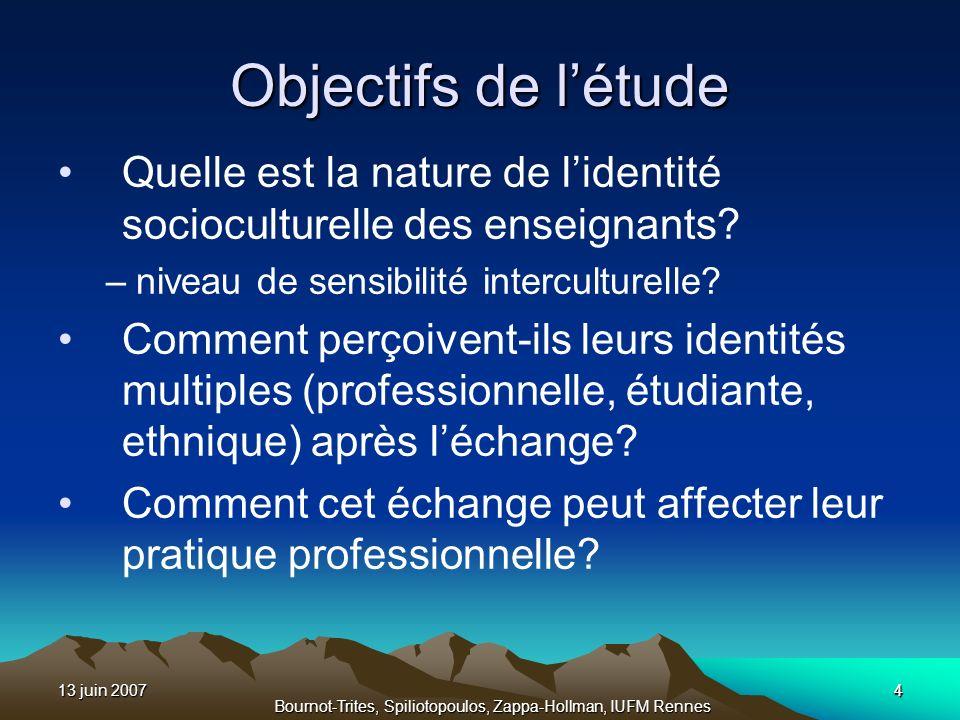 13 juin 20074 Bournot-Trites, Spiliotopoulos, Zappa-Hollman, IUFM Rennes 4 Objectifs de létude Quelle est la nature de lidentité socioculturelle des e