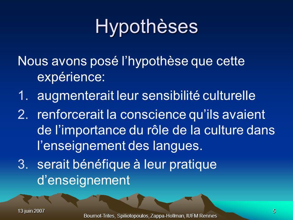 13 juin 20075 Bournot-Trites, Spiliotopoulos, Zappa-Hollman, IUFM Rennes 5 Hypothèses Nous avons posé lhypothèse que cette expérience: 1.augmenterait