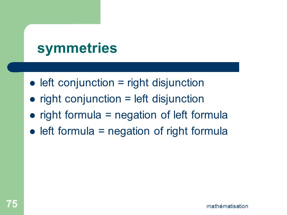 mathématisation 75 symmetries left conjunction = right disjunction right conjunction = left disjunction right formula = negation of left formula left