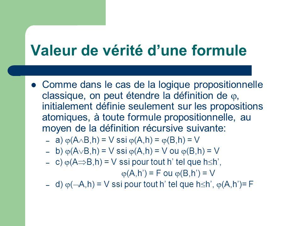 Valeur de vérité dune formule Comme dans le cas de la logique propositionnelle classique, on peut étendre la définition de, initialement définie seule