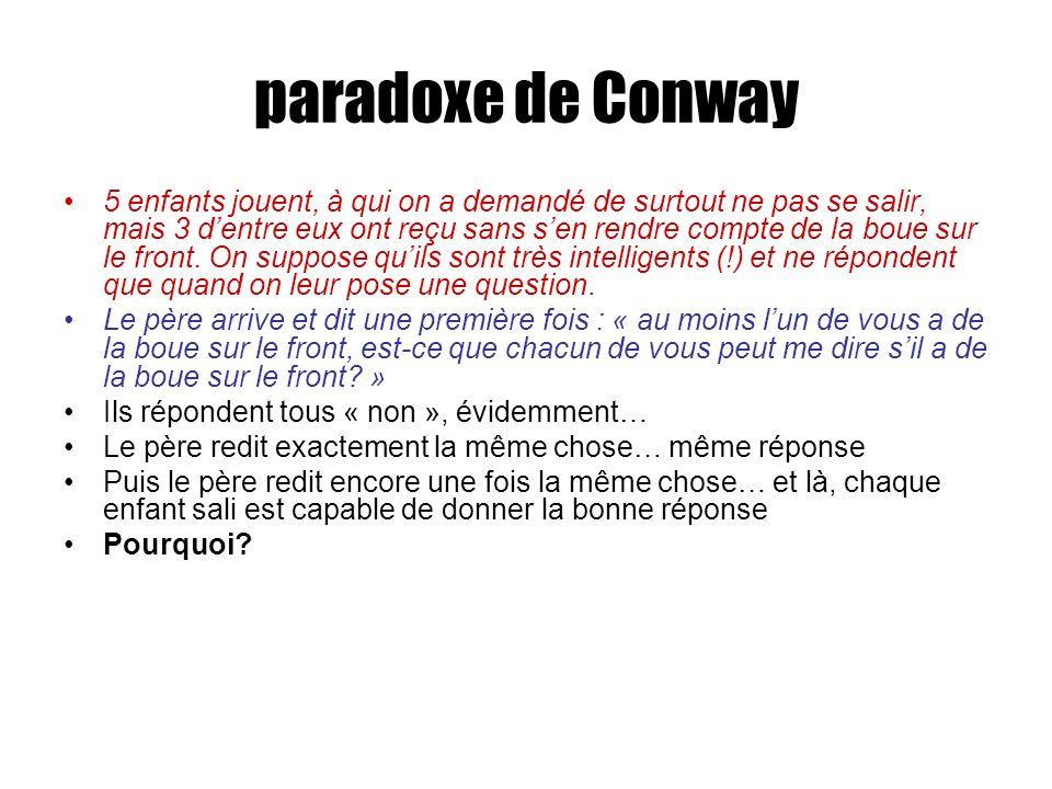 paradoxe de Conway 5 enfants jouent, à qui on a demandé de surtout ne pas se salir, mais 3 dentre eux ont reçu sans sen rendre compte de la boue sur le front.