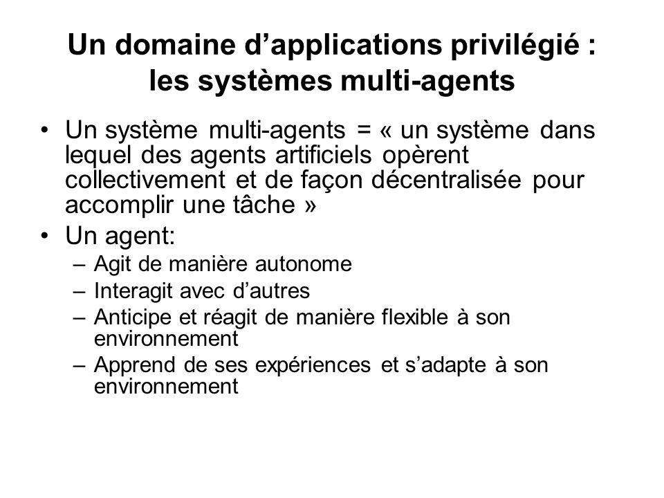 Un domaine dapplications privilégié : les systèmes multi-agents Un système multi-agents = « un système dans lequel des agents artificiels opèrent coll