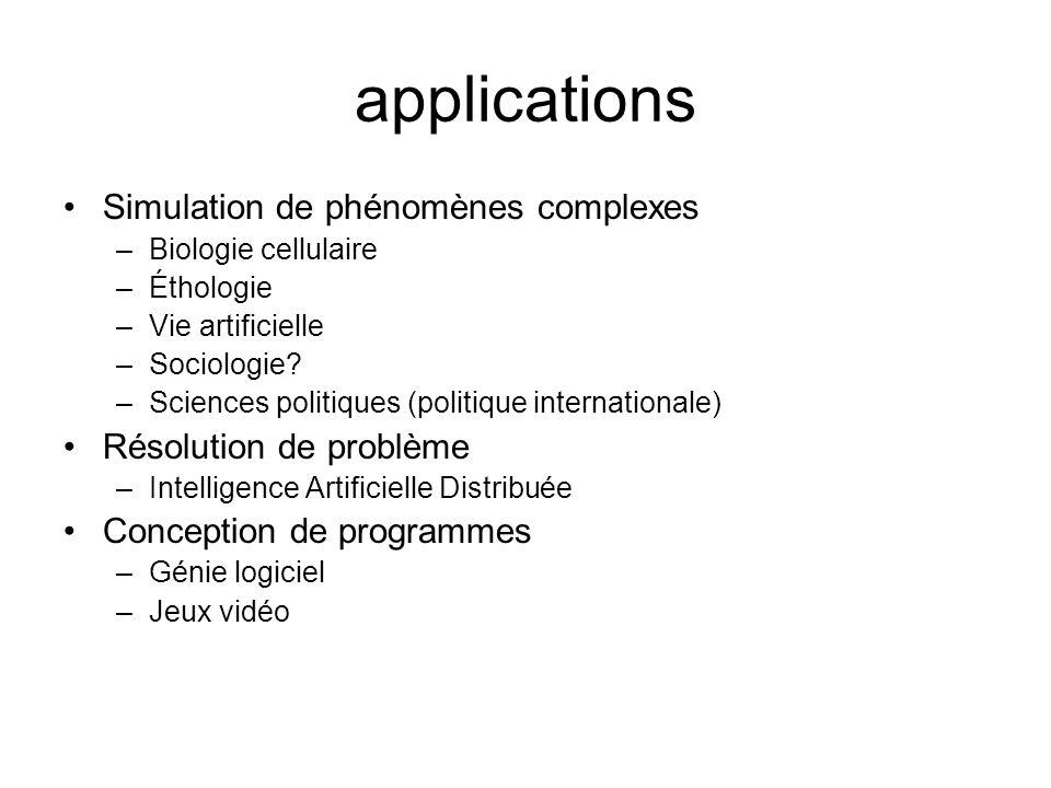 applications Simulation de phénomènes complexes –Biologie cellulaire –Éthologie –Vie artificielle –Sociologie? –Sciences politiques (politique interna