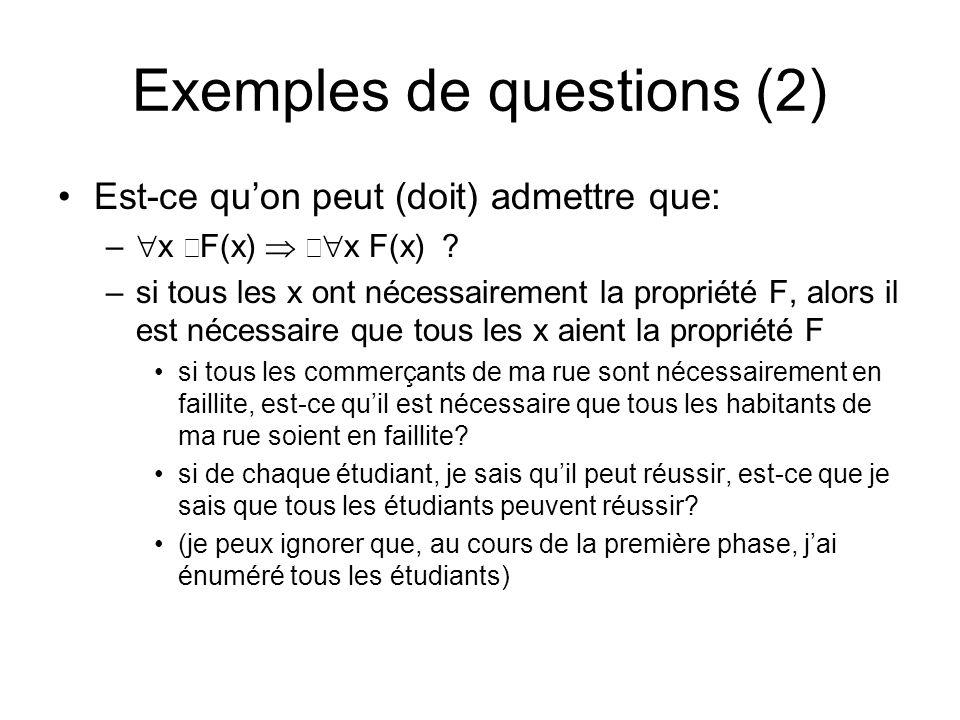 Est-ce quon peut (doit) admettre que: – x F(x) x F(x)? –si tous les x ont nécessairement la propriété F, alors il est nécessaire que tous les x aient