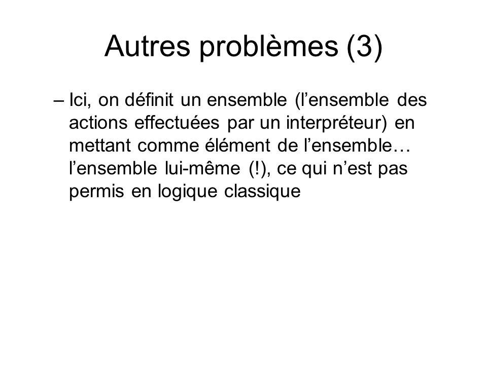 Autres problèmes (3) –Ici, on définit un ensemble (lensemble des actions effectuées par un interpréteur) en mettant comme élément de lensemble… lensem