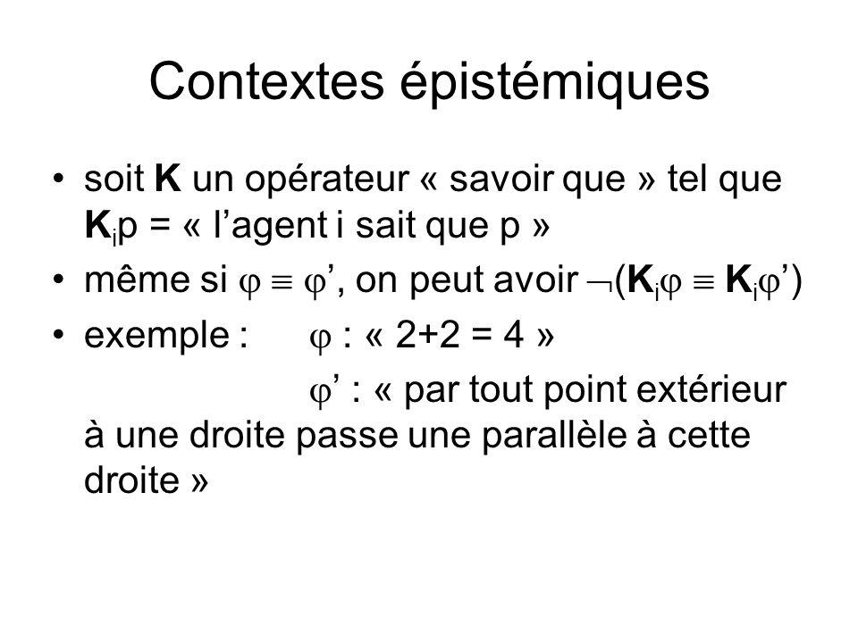 Contextes épistémiques soit K un opérateur « savoir que » tel que K i p = « lagent i sait que p » même si, on peut avoir (K i K i ) exemple : : « 2+2 = 4 » : « par tout point extérieur à une droite passe une parallèle à cette droite »