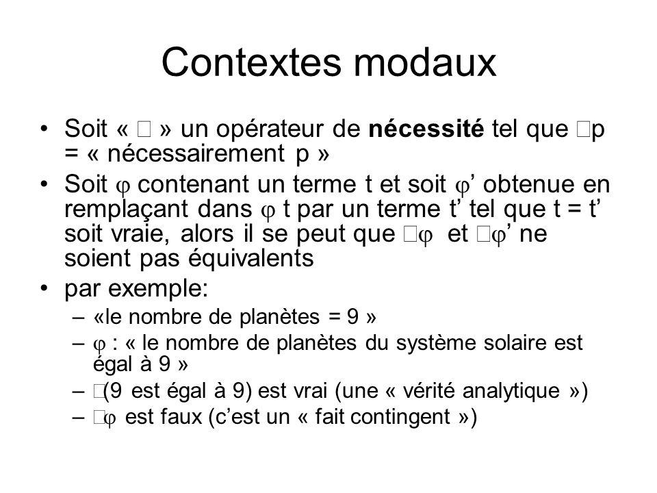 Contextes modaux Soit « » un opérateur de nécessité tel que p = « nécessairement p » Soit contenant un terme t et soit obtenue en remplaçant dans t pa