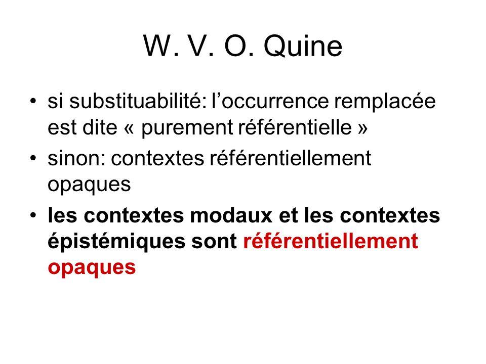 W. V. O. Quine si substituabilité: loccurrence remplacée est dite « purement référentielle » sinon: contextes référentiellement opaques les contextes