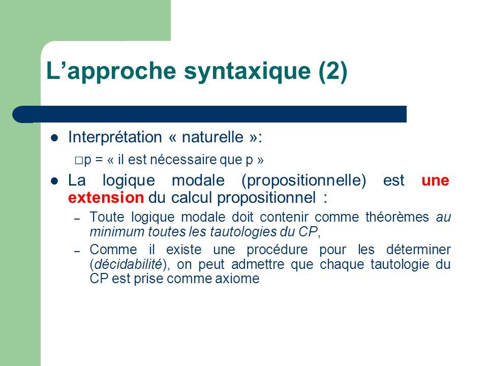 Interprétation « naturelle »: p = « il est nécessaire que p » La logique modale (propositionnelle) est une extension du calcul propositionnel : – Toute logique modale doit contenir comme théorèmes au minimum toutes les tautologies du CP, – Comme il existe une procédure pour les déterminer (décidabilité), on peut admettre que chaque tautologie du CP est prise comme axiome Lapproche syntaxique (2)