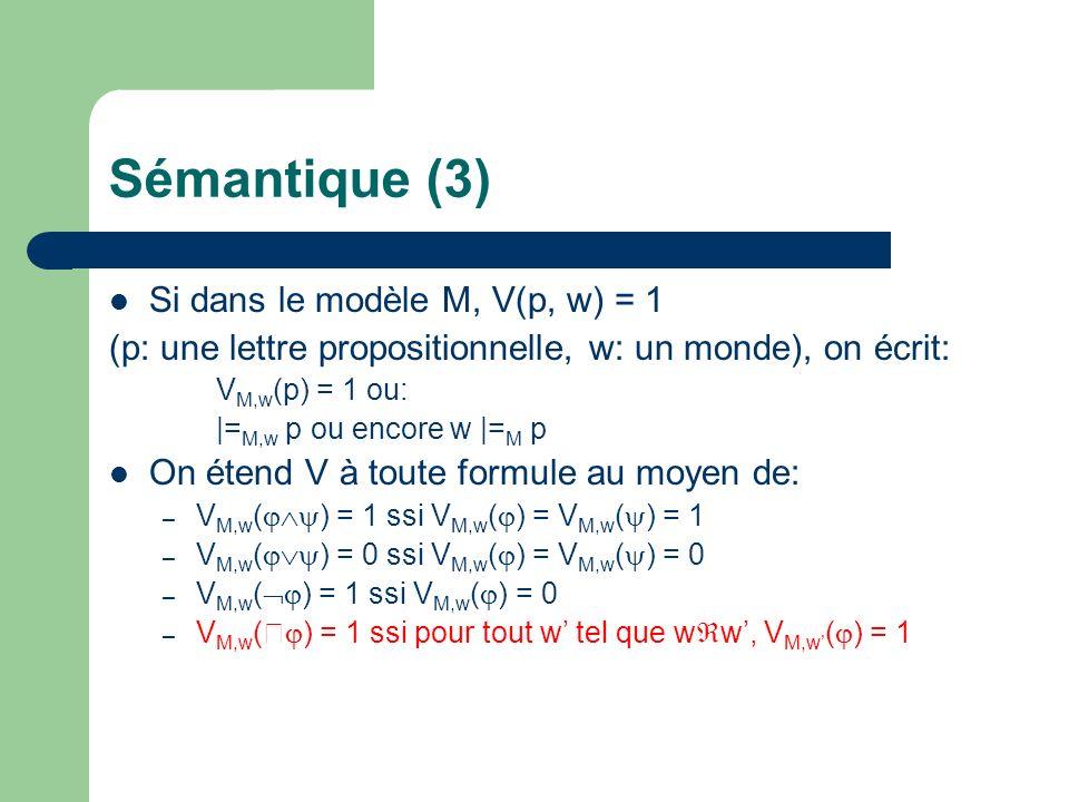 Sémantique (3) Si dans le modèle M, V(p, w) = 1 (p: une lettre propositionnelle, w: un monde), on écrit: V M,w (p) = 1 ou: |= M,w p ou encore w |= M p On étend V à toute formule au moyen de: – V M,w ( ) = 1 ssi V M,w ( ) = V M,w ( ) = 1 – V M,w ( ) = 0 ssi V M,w ( ) = V M,w ( ) = 0 – V M,w ( ) = 1 ssi V M,w ( ) = 0 – V M,w ( ) = 1 ssi pour tout w tel que w w, V M,w ( ) = 1