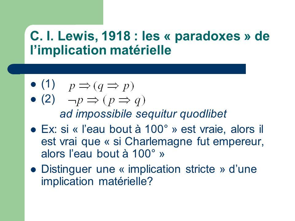 C. I. Lewis, 1918 : les « paradoxes » de limplication matérielle (1) (2) ad impossibile sequitur quodlibet Ex: si « leau bout à 100° » est vraie, alor