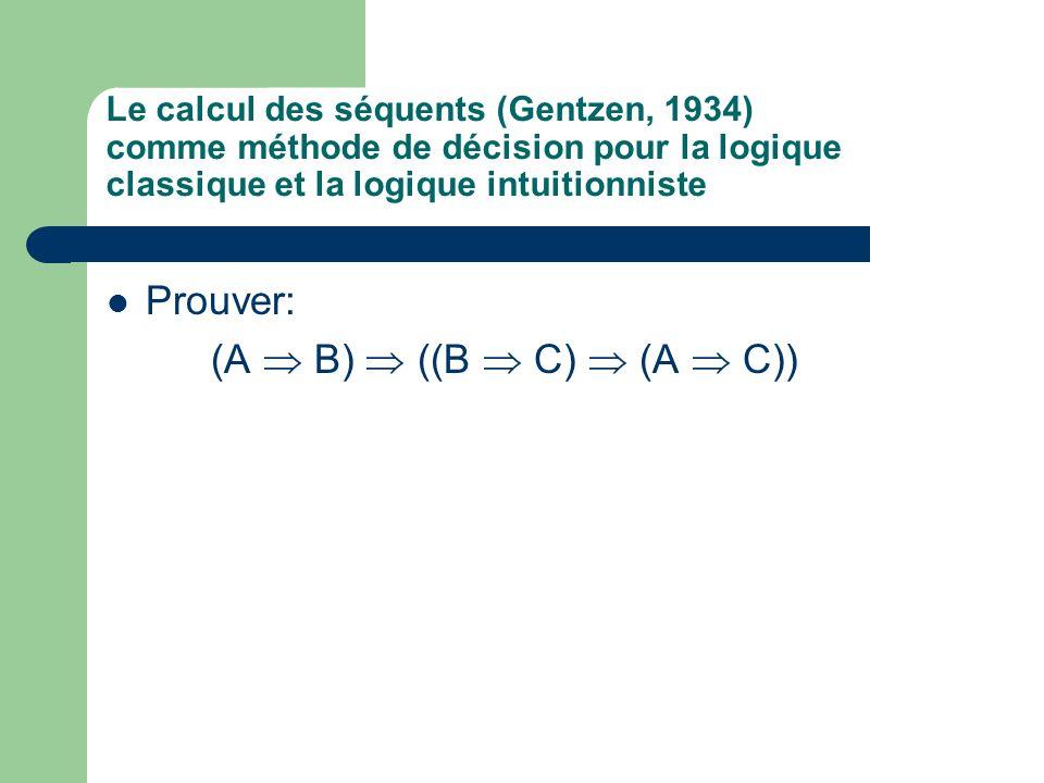 Le calcul des séquents (Gentzen, 1934) comme méthode de décision pour la logique classique et la logique intuitionniste Prouver: (A B) ((B C) (A C))