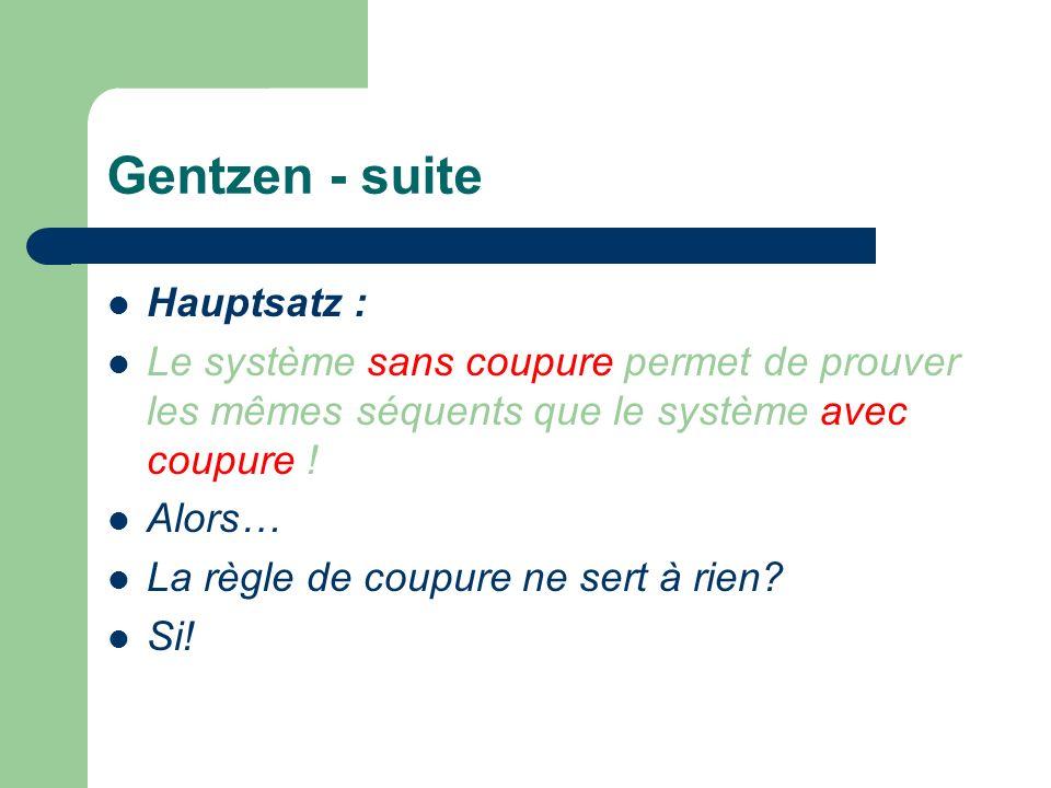 Gentzen - suite Hauptsatz : Le système sans coupure permet de prouver les mêmes séquents que le système avec coupure .