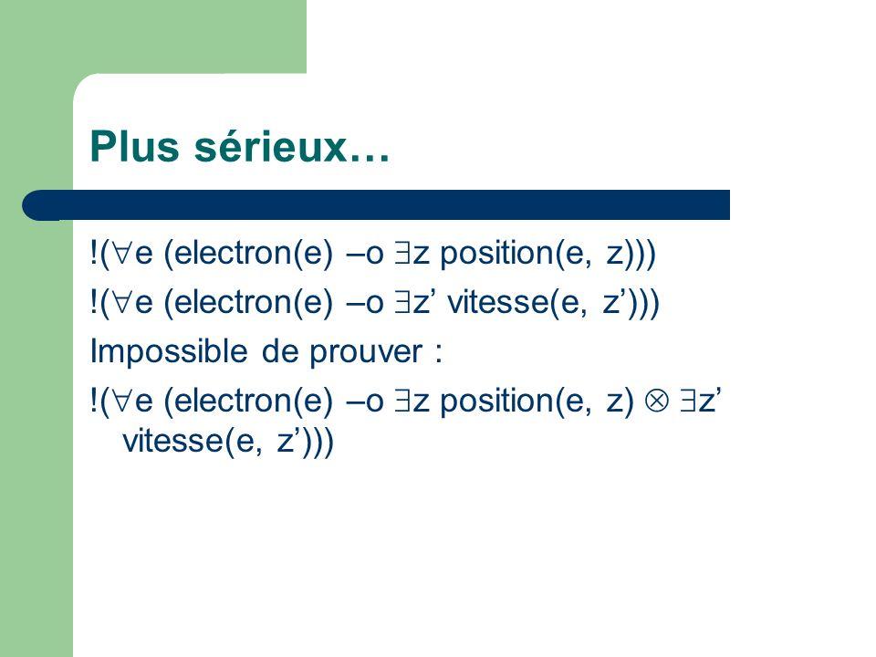 Plus sérieux… !( e (electron(e) –o z position(e, z))) !( e (electron(e) –o z vitesse(e, z))) Impossible de prouver : !( e (electron(e) –o z position(e, z) z vitesse(e, z)))