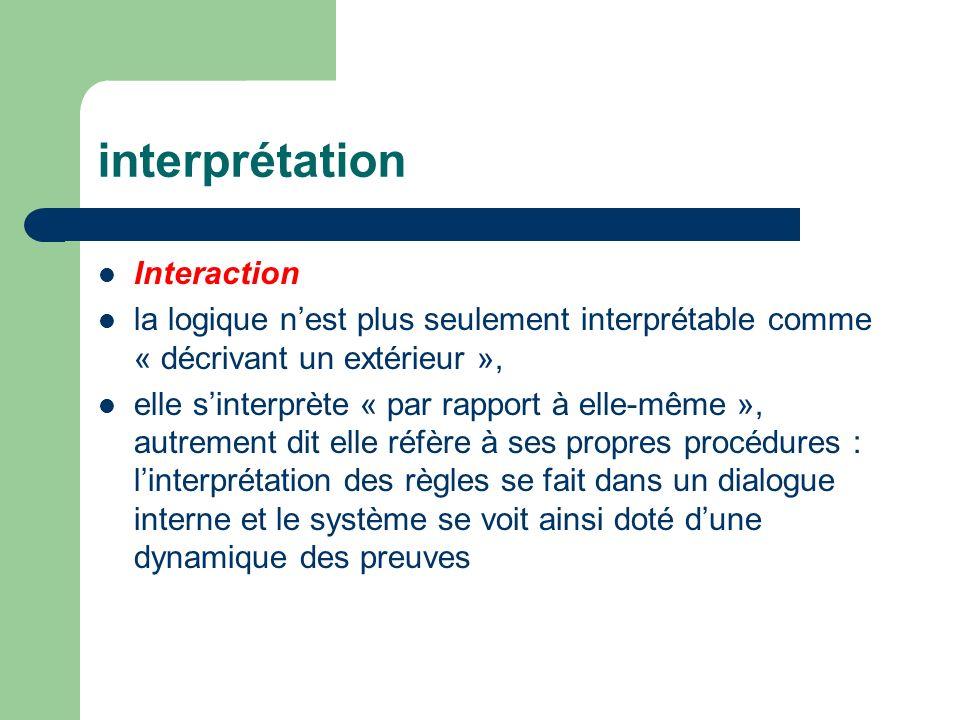 interprétation Interaction la logique nest plus seulement interprétable comme « décrivant un extérieur », elle sinterprète « par rapport à elle-même », autrement dit elle réfère à ses propres procédures : linterprétation des règles se fait dans un dialogue interne et le système se voit ainsi doté dune dynamique des preuves
