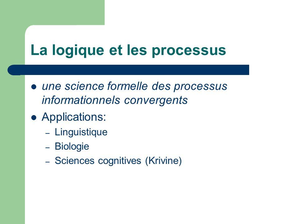 La logique et les processus une science formelle des processus informationnels convergents Applications: –L–Linguistique –B–Biologie –S–Sciences cognitives (Krivine)
