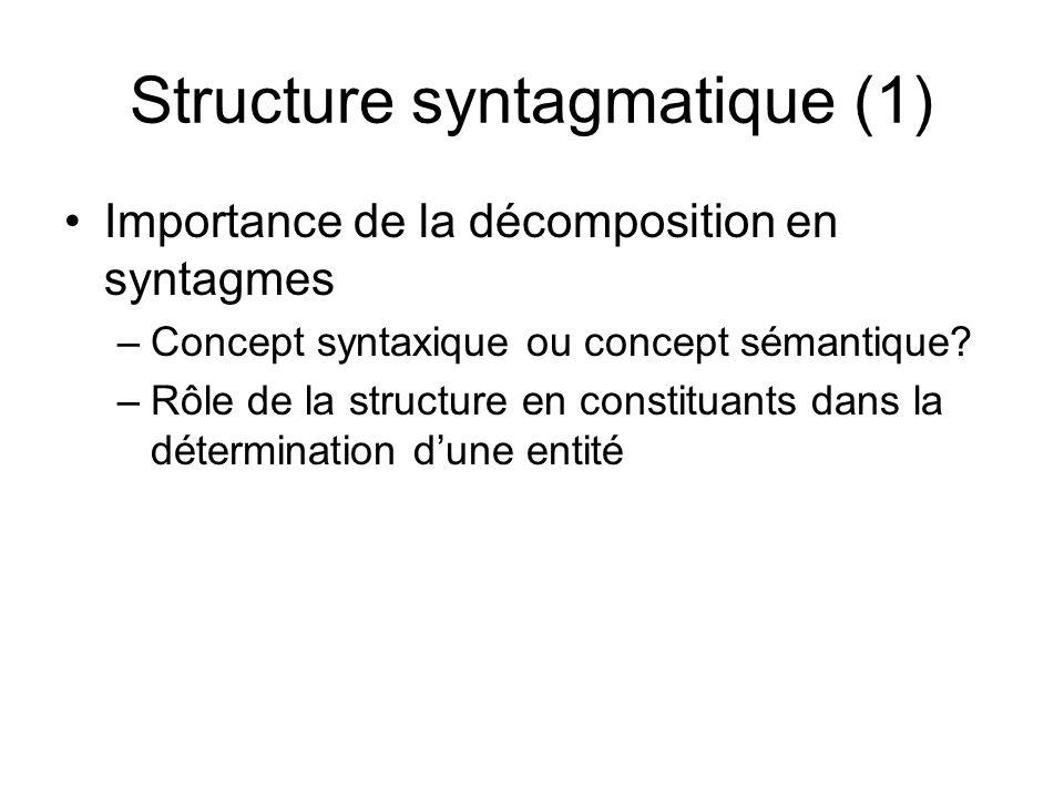 Structure syntagmatique (1) Importance de la décomposition en syntagmes –Concept syntaxique ou concept sémantique? –Rôle de la structure en constituan