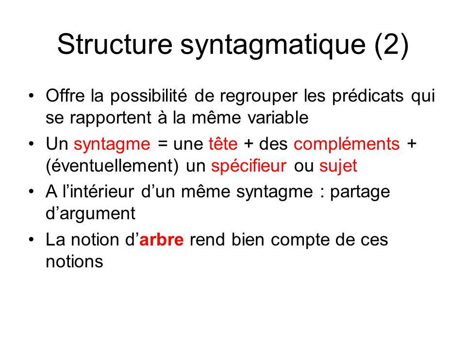 Structure syntagmatique (2) Offre la possibilité de regrouper les prédicats qui se rapportent à la même variable Un syntagme = une tête + des compléme