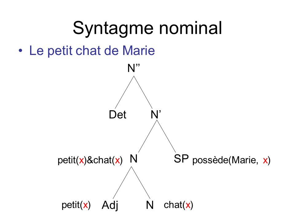 Syntagme nominal Le petit chat de Marie N NDet Adj N N SP petit(x)chat(x) petit(x)&chat(x)possède(Marie, x)