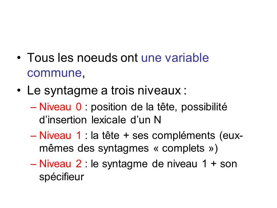 Tous les noeuds ont une variable commune, Le syntagme a trois niveaux : –Niveau 0 : position de la tête, possibilité dinsertion lexicale dun N –Niveau
