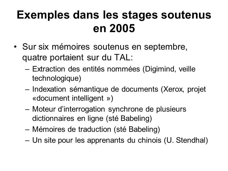 Exemples dans les stages soutenus en 2005 Sur six mémoires soutenus en septembre, quatre portaient sur du TAL: –Extraction des entités nommées (Digimi