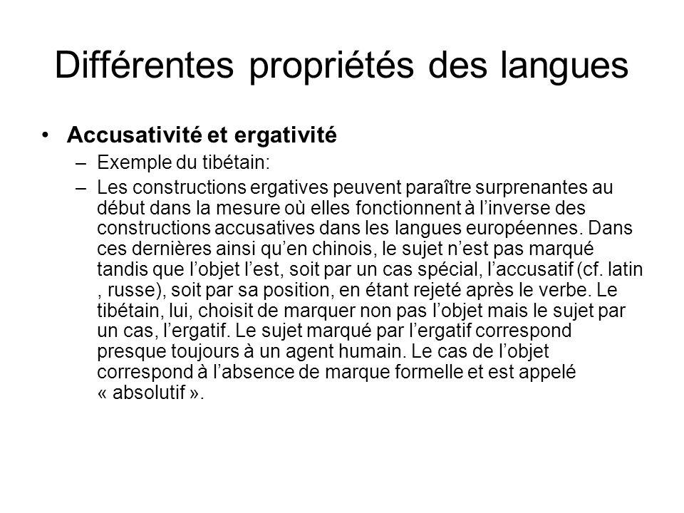 Différentes propriétés des langues Accusativité et ergativité –Exemple du tibétain: –Les constructions ergatives peuvent paraître surprenantes au débu