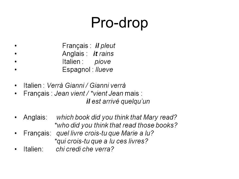 Pro-drop Français : il pleut Anglais : it rains Italien : piove Espagnol : llueve Italien : Verrà Gianni / Gianni verrà Français : Jean vient / *vient