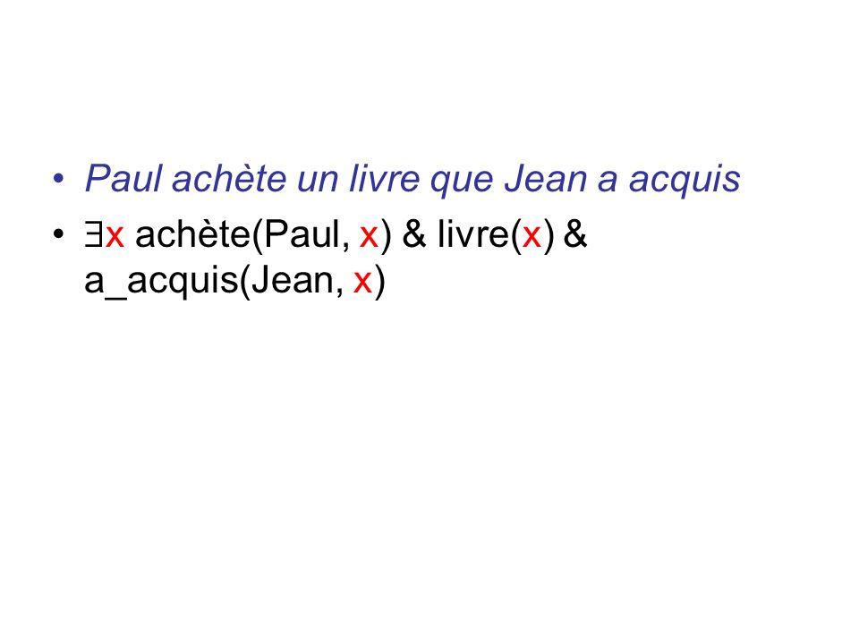 Paul achète un livre que Jean a acquis x achète(Paul, x) & livre(x) & a_acquis(Jean, x)