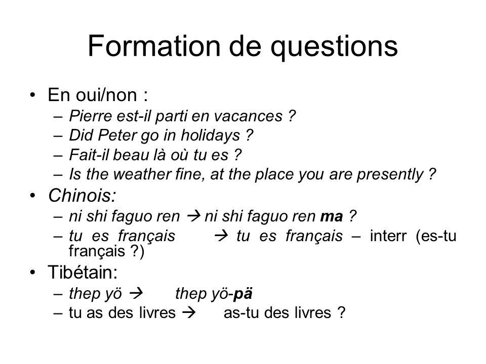 Formation de questions En oui/non : –Pierre est-il parti en vacances ? –Did Peter go in holidays ? –Fait-il beau là où tu es ? –Is the weather fine, a