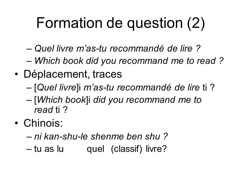 Formation de question (2) –Quel livre mas-tu recommandé de lire ? –Which book did you recommand me to read ? Déplacement, traces –[Quel livre]i mas-tu