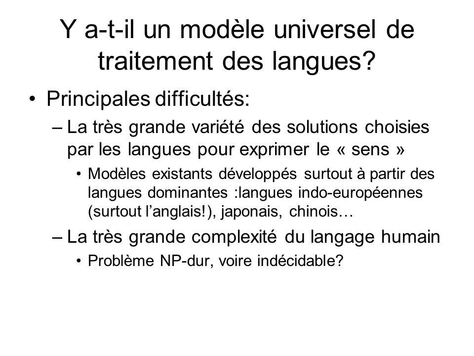 Y a-t-il un modèle universel de traitement des langues? Principales difficultés: –La très grande variété des solutions choisies par les langues pour e