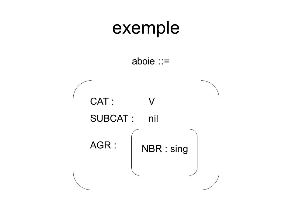 exemple aboie ::= CAT :V AGR : NBR : sing SUBCAT :nil