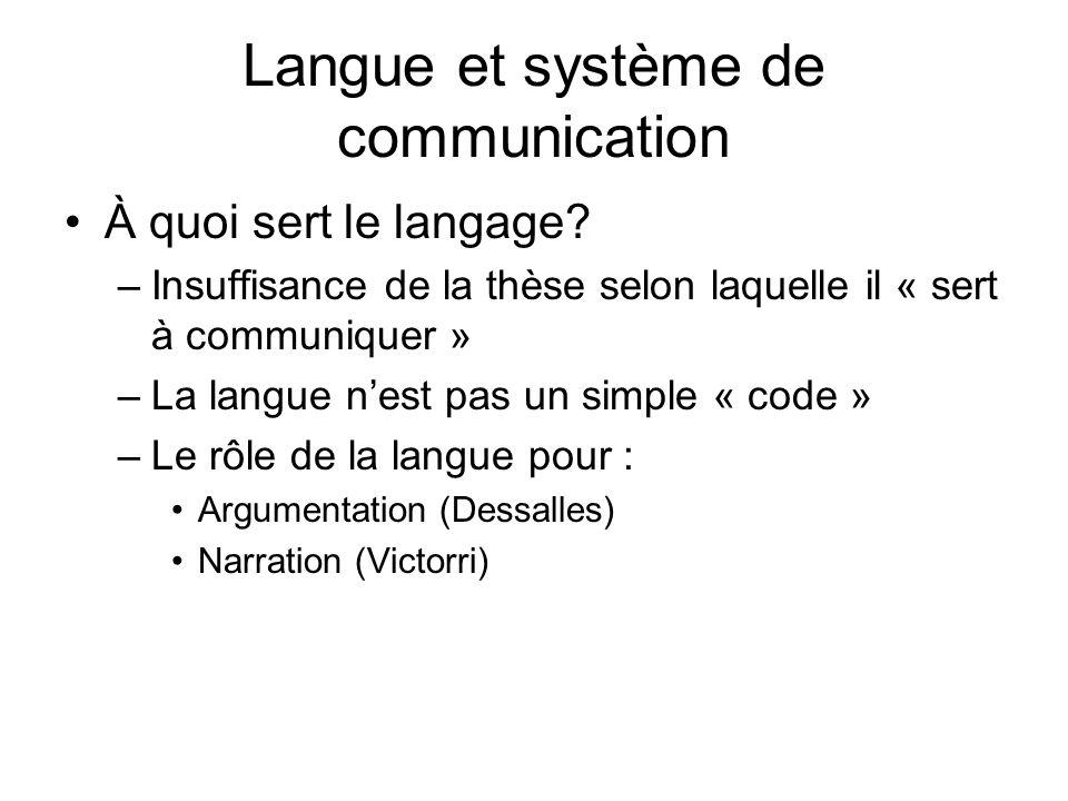 Langue et système de communication À quoi sert le langage? –Insuffisance de la thèse selon laquelle il « sert à communiquer » –La langue nest pas un s