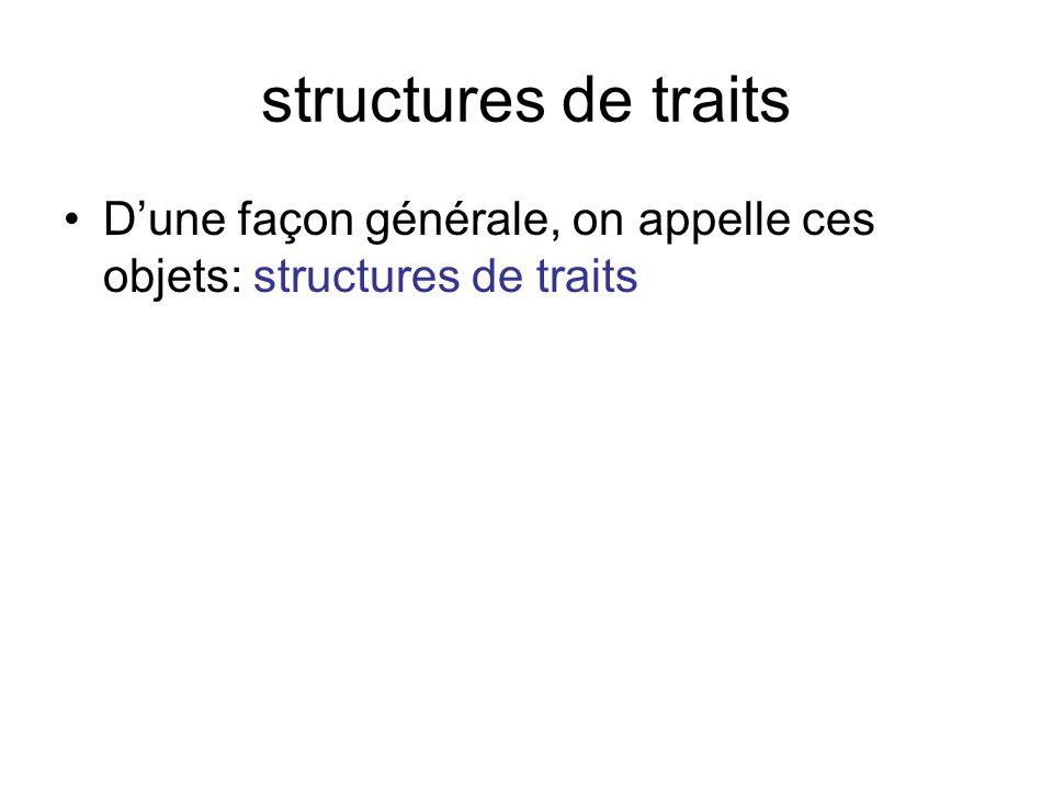 structures de traits Dune façon générale, on appelle ces objets: structures de traits