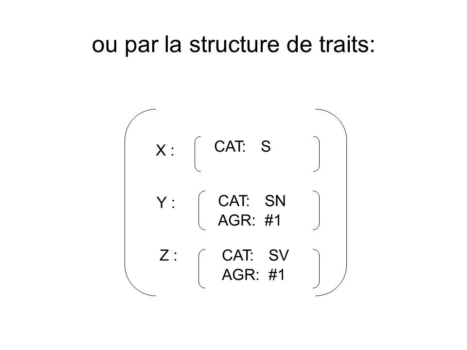 ou par la structure de traits: X : Y : Z : CAT:S CAT: SN AGR:#1 CAT:SV AGR:#1