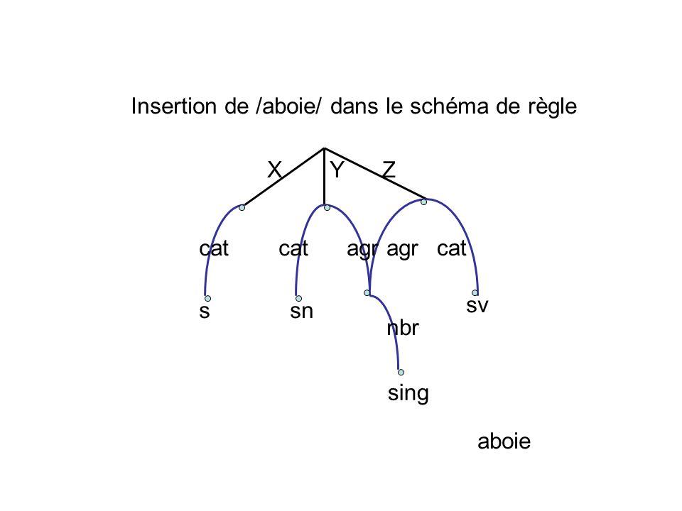 XY Z cat agr ssn sv sing nbr aboie Insertion de /aboie/ dans le schéma de règle