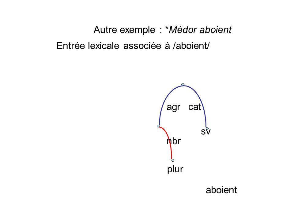 plur nbr aboient cat agr sv Autre exemple : *Médor aboient Entrée lexicale associée à /aboient/