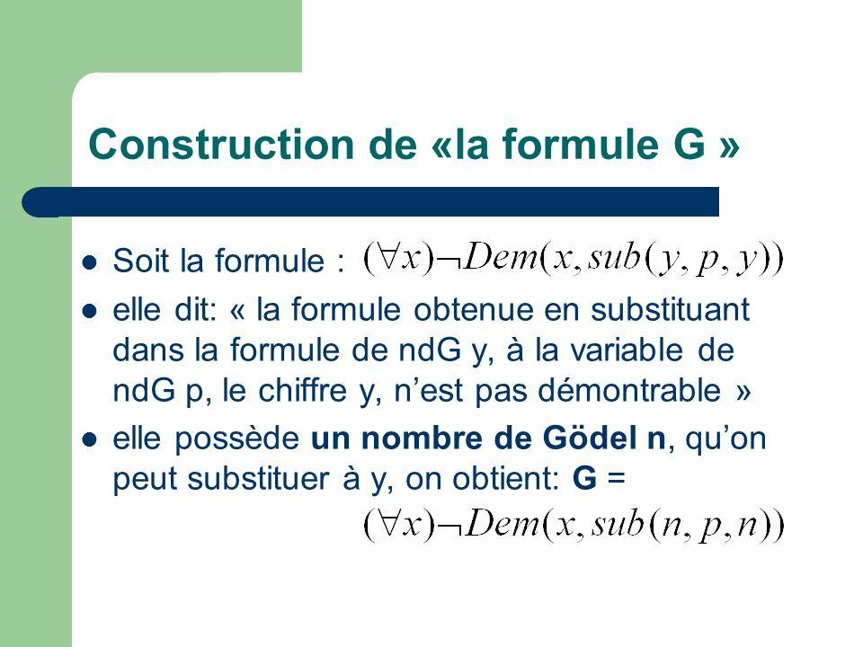 Etude de la formule G Quel est son nombre de Gödel.